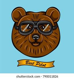 Cute Pilot Brown Bear Face Traveler Retro Aviator Glasses. Best Pilot Ribbon. Vector Illustration Isolated On White Background.