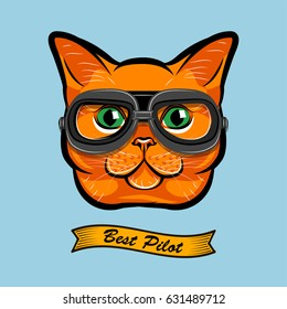 Cute Pilot Cat Face Traveler Retro Aviator Glasses. Best Pilot Ribbon. Vector Illustration Isolated On White Background.