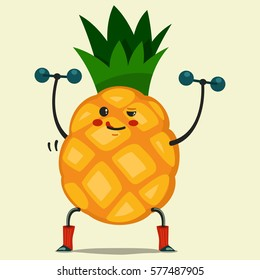 Cute Pineapple cartoon character doing exercises with dumbbells. Eating healthy and fitness. Flat retro style concept illustration.