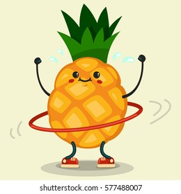 Cute Pineapple cartoon character doing exercises with hula hoop. Eating healthy and fitness. Flat retro style illustration concept.