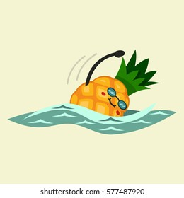 Cute Pineapple cartoon character is engaged in swimming. Eating healthy and fitness. Flat retro style illustration concept.