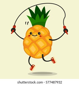 Cute Pineapple cartoon character makes the jump rope exercises. Eating healthy and fitness. Flat retro style illustration concept.