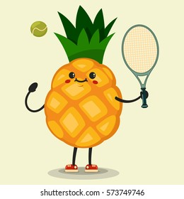 Cute Pineapple cartoon character playing tennis. Eating healthy and fitness. Flat retro style illustration concept.