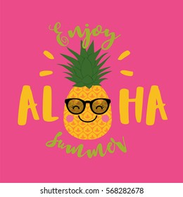 Cute pineapple cartoon illustration for summer holidays
