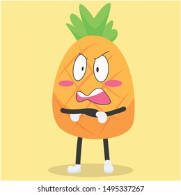 Cute pineapple character with angry expression vector illustration,cute pineapple cartoon
