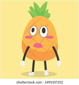 a cute pineapple character with an astonished expression vector illustration,cute pineapple cartoon