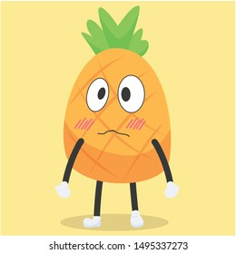 Cute pineapple character with a disappointed expression vector illustration