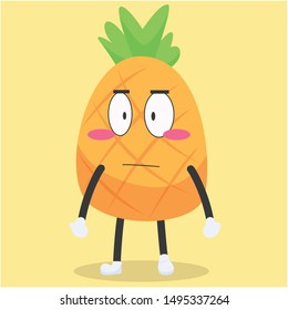 cute pineapple character with a disappointed smile expression vector illustration,cute pineapple cartoon