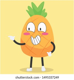 cute pineapple character with a grinning expression vector illustration