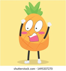 cute pineapple character with a shocked expression vector illustration,cute pineapple cartoon