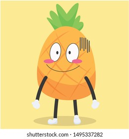 cute pineapple character with a shy expression vector illustration,cute pineapple vector