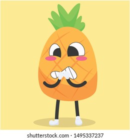 cute pineapple characters with fussy expressions vector illustration,cute pineapple cartoon