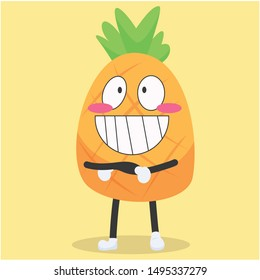 Cute pineapple characters with happy expressions vector illustration,cute pineapple cartoon