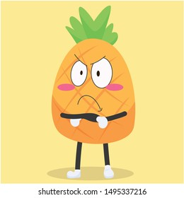cute pineapple characters with sulking expressions vector illustration,cute pineapple vector