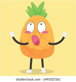 cute pineapple characters with wide-eyed expressions vector illustration,cute pineapple cartoon