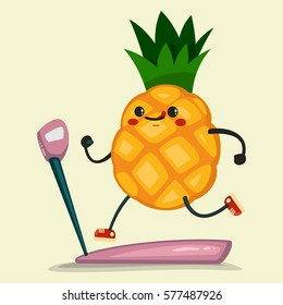 Cute Pineapple doing exercises on a treadmill. Eating healthy and fitness. Retro flat concept illustration.