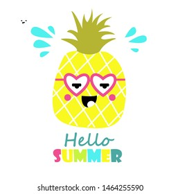Cute pineapple with glasses. Hello summer. Cartoon