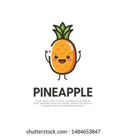 Cute Pineapple Mascot Logo Design Vector