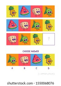 Cute pineapple, watermelon, tofu, olive. Logic game for children preschool worksheet activity for kids, task for the development of logical thinking and mind. Funny cartoon fruits and vegetables.