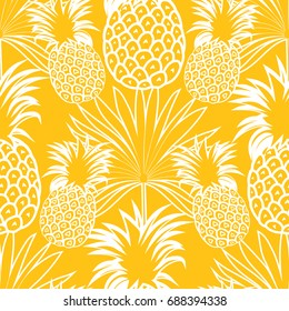 Cute pineapples background. Yellow pineapples seamless pattern. Pineapples vector illustration.