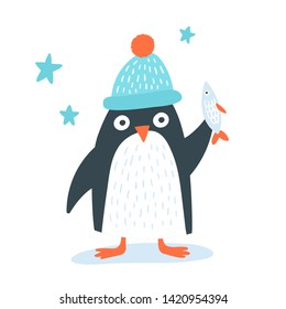 Cute pinguin in a funny hat with the fish. Cool child concept, gret mock up for  mugs and wall kids posters.