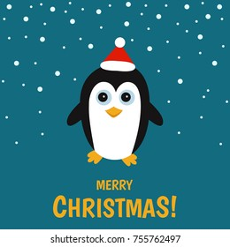 Cute  pinguin  on  winter  landscape.   Christmas greeting  card background. Xmas vector  illustration.