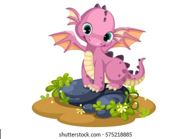 Cute pink baby dragon cartoon