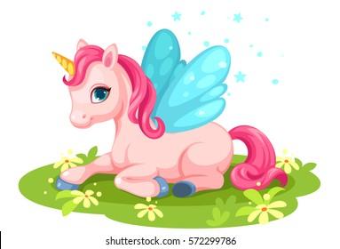Cute pink baby unicorn character
