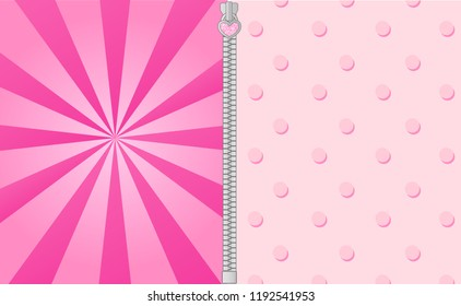 Cute pink background with bright beams. Lol doll surprise party elements of design. Vector frame for invitation text. Pattern with points for decoration birthday and girl baby shower invite card.