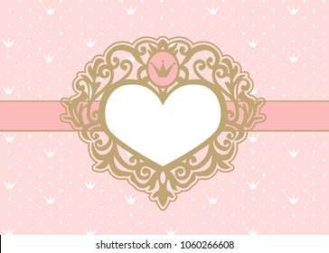 Cute pink background with polka dots and crown. Luxury gold photo frame in the shape of a heart. Princess royal invitation card ( birthday, wedding, baby shower) Vector picture border. Vintage mirror