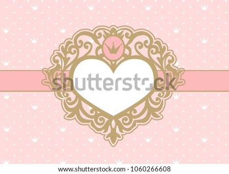 a9846744135b Cute pink background with polka dots and crown. Luxury gold photo frame in  the shape