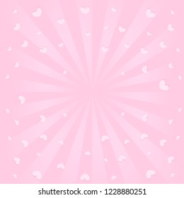 Cute pink background with sunbeams, flying hearts in air. Romantic elegant picture for greeting card ( birthday invitation, valentines, mother day) Cute banner for surprise, blank space in center