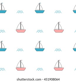 cute pink and blue cartoon boats seamless vector pattern background illustration