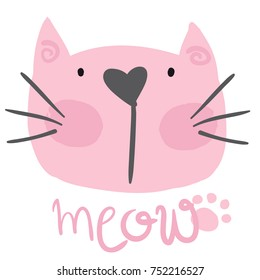 cute pink cat with meow. For print, baby clothes, t shirt, child or wrapping paper. Creative girlish original design