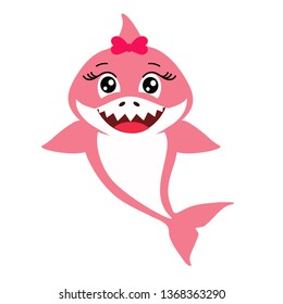 Cute pink decorative baby shark. Vector