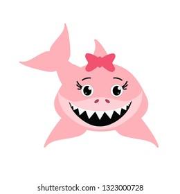 Cute pink decorative shark- vector