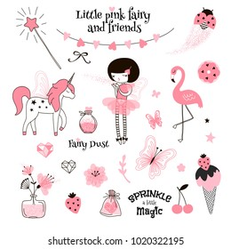 cute pink fairy, graphic elements set for D.I.Y. projects