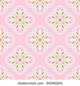 Cute pink floral Seamless abstract tiled pattern vector