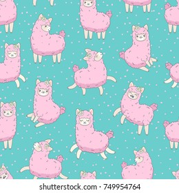 Cute pink fluffy llama (alpaca) run, jump, smile seamless pattern on blue.