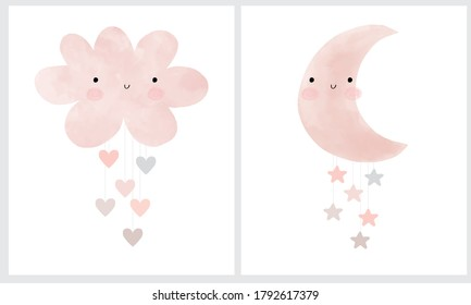 Cute Pink Fluffy Smiling Cloud with Hanging Hearts and Loveli New Monn with Little Stars. Moon and Cloud Isolated on a White Background. Simple Baby Shower Art. Cloud and Rain of Hearts Vector Print.