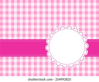 Cute pink gingham pattern with a lace frame / border