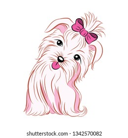 cute pink girl dog showing her tongue