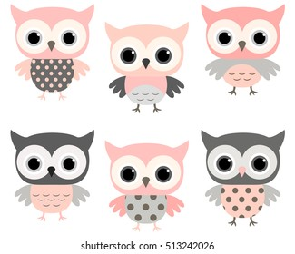 Cute pink and grey cartoon owls vector set for baby showers, birthdays and invitation designs