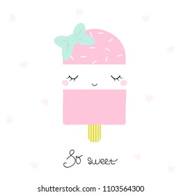 Cute pink ice cream with bow and lettering. Vector hand drawn illustration.