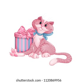 A cute pink kitten with a blue bow sits next to a beautiful gift box. A striped circular box and a decorative bow with a pattern in a circle. Vector cartoon character for greeting card.