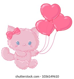 Cute pink kitten. Valentine's day or birthday. Funny postcard.