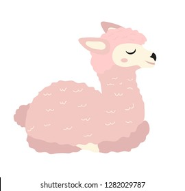 Cute pink llama icon, flat, cartoon style. Isolated on white background. Vector illustration