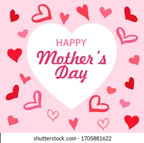 Cute pink modern greeting card Happy Mother's Day with hearts