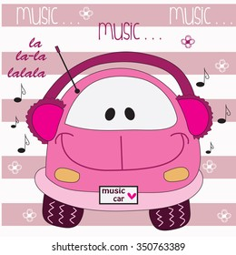 cute pink music car with flowers and notes vector illustration