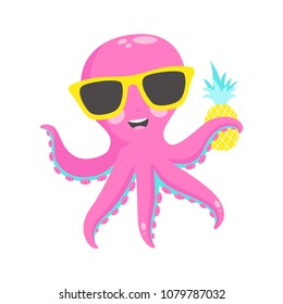 Cute pink octopus with  pineapple. Vector illustration